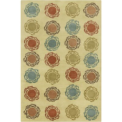 Millwood Hand Tufted Wool Olive Green/Rust Red Area Rug