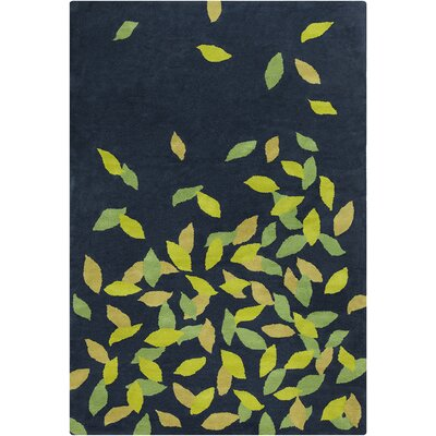 Belmont Hand Tufted Wool Navy Blue/Green Area Rug