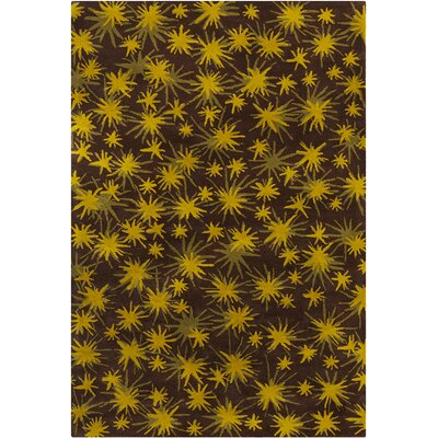 Millwood Hand Tufted Wool Dark Brown/Gold Area Rug Rug Size: 5 x 76