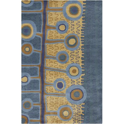 Millwood Hand Tufted Wool Blue/Gold Area Rug Rug Size: 8 x 10