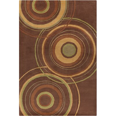 Millwood Hand Tufted Wool Brown/Gold Area Rug Rug Size: 5 x 76