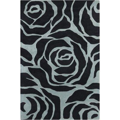 Arae Black/Light Blue Floral Area Rug Rug Size: 79 x 106