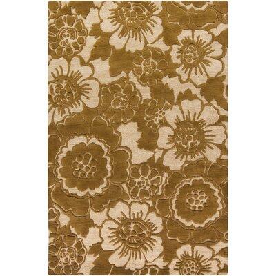 Arae Gold/Ivory Floral Area Rug Rug Size: 79 x 106
