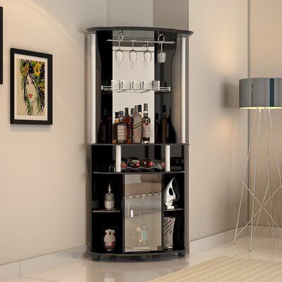 Rutland Bar With Wine Storage Finish: Black