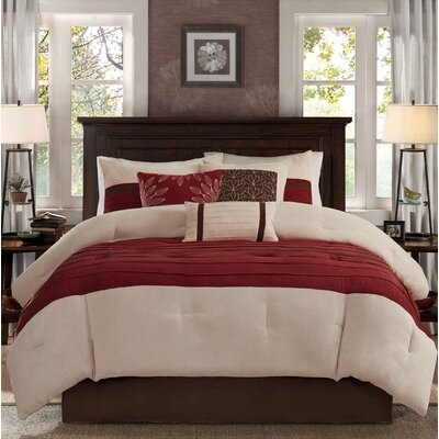 Caleb 7 Piece Comforter Set Size: King, Color: Red