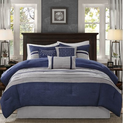 Caleb 7 Piece Comforter Set Size: King, Color: Navy
