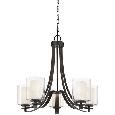 Bensenville 5-Light Shaded Candle-Style Chandelier
