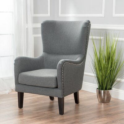 Garett Wingback Chair Upholstery: Charcoal