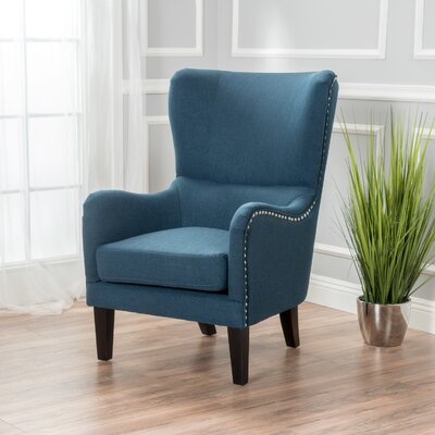 Garett Wingback Chair Upholstery: Dark Blue