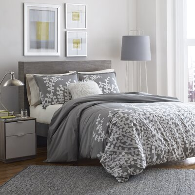 Kelen Duvet Cover Set Size: King, Color: Grey