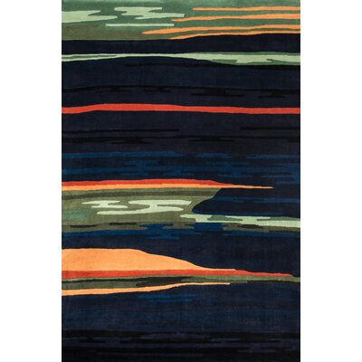 Eddie Hand-Tufted Black Area Rug Rug Size: 76 x 96