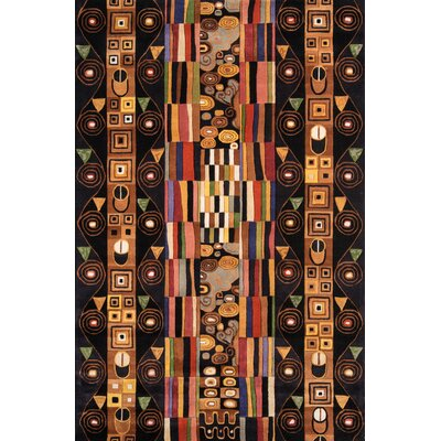 Eddie Hand-Tufted Black/Brown Area Rug Rug Size: 76 x 96