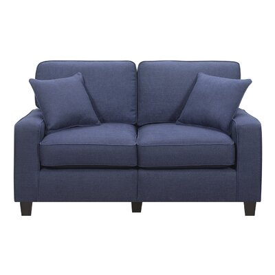 Lonnie 61 Track Arm Loveseat Upholstery: Navy