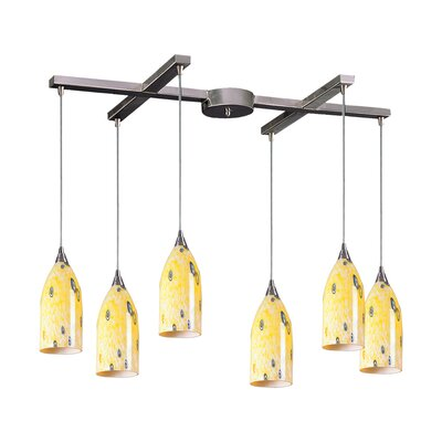 Leakey 6-Light Pendant Glass Type: Yellow Blaze