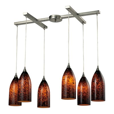 Leakey 6-Light Pendant Glass Type: Espresso