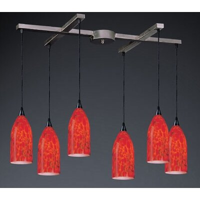 Leakey 6-Light Pendant Glass Type: Fire Red