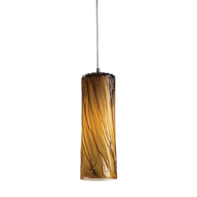Cancer 1-Light Mini Pendant Finish: Satin Nickel and Maple Dusk