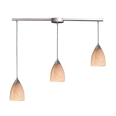 Frostia 3-Light Linear Pendant Glass Type: Sandy