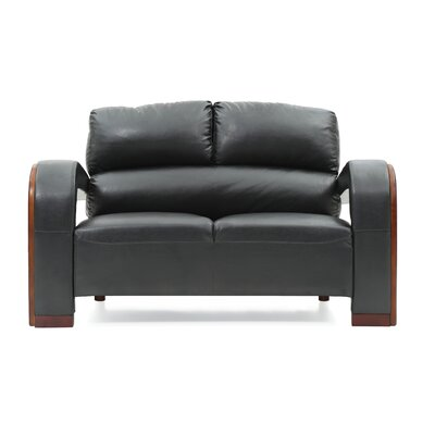 Troy Modern Loveseat Upholstery: Black