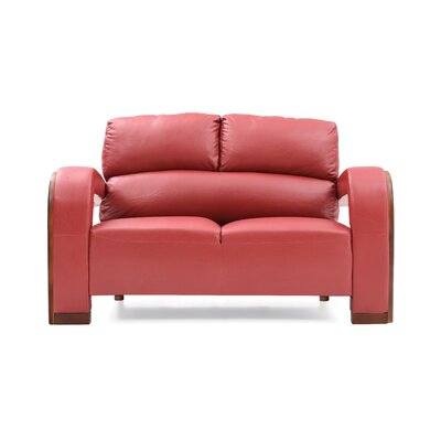 Troy Modern Loveseat Upholstery: Red