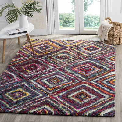 Gleno Red/Yellow Area Rug Rug Size: 51 x 76