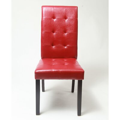 Hinton Charterhouse Genuine Leather Upholstered Dining Chair Upholstery: Red