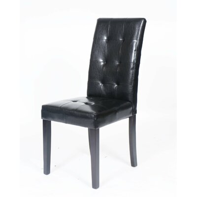Hinton Charterhouse Leather Upholstered Dining Chair Upholstery: Black