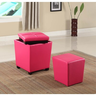 Hato-Udo 2-in-1 Storage Ottoman Upholstery: Pink