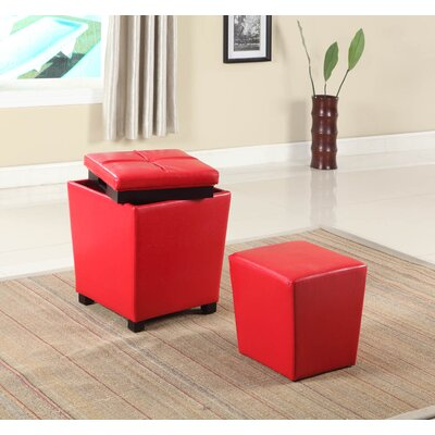 Hato-Udo 2-in-1 Storage Ottoman Upholstery: Red