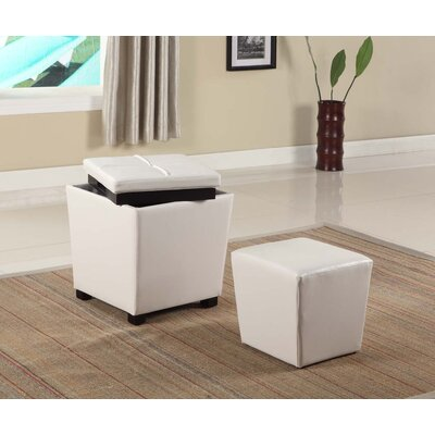 Hato-Udo 2-in-1 Storage Ottoman Upholstery: White