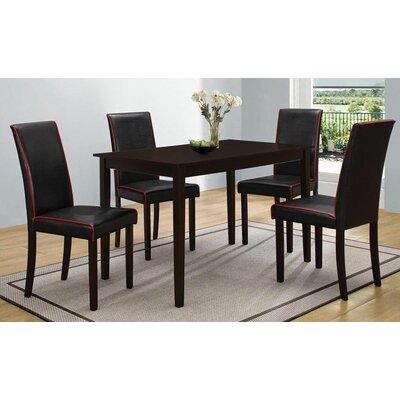Brennan 5 Piece Dining Set Upholstery: Black