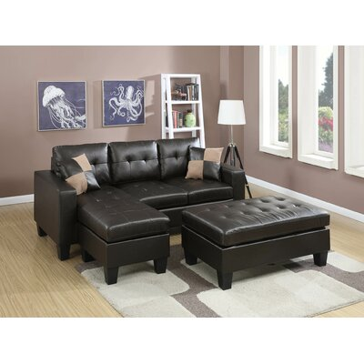 Calhoun Reversible Sleeper Sectional Upholstery: Black
