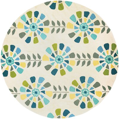 Carissa Flower Bloom Hand-Woven Cream Area Rug