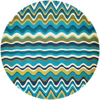 Carissa Cannon Beach Hand-Woven Light Green/Blue Indoor/Outdoor Area Rug Rug Size: Round 710