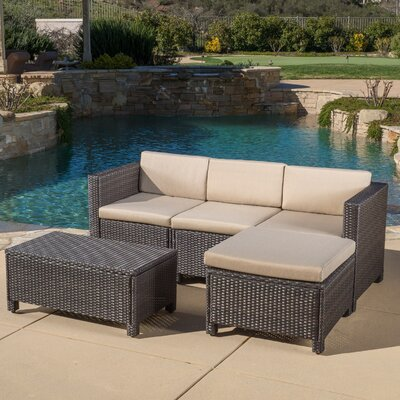 5 Piece Stylish Seating Group with Cushion Frame Finish: Brown