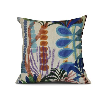 Braylen Jungle Floral Print Outdoor Throw Pillow Size: 20 H x 20 W x 3 D, Color: Gold