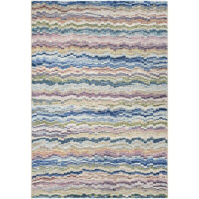 Lou Bone/Ocean Blue Area Rug Rug Size: Rectangle 53 x 76