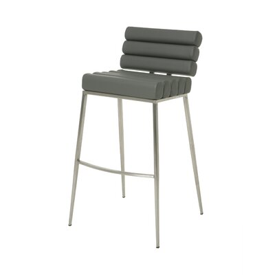 Candlewood 26 Bar Stool Base Finish: Stainless Steel, Upholstery: Gray