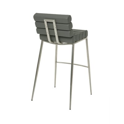 Candlewood 30 Bar Stool Base Finish: Stainless Steel, Upholstery: Gray