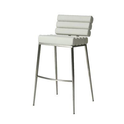 Candlewood 26 Bar Stool Base Finish: Stainless Steel, Upholstery: Ivory
