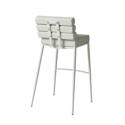 Candlewood 26 Bar Stool Base Finish: SF Matte White, Upholstery: Ivory
