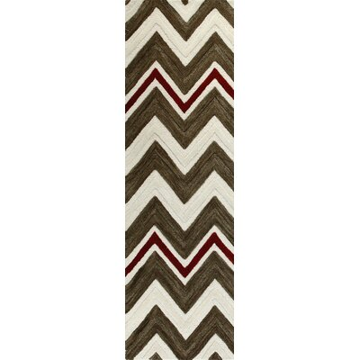 Warsaw Hand-Tufted Ivory/Chocolate Area Rug Rug Size: Runner 26 x 8