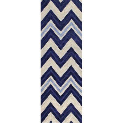 Shelton Hand-Tufted Ivory/Navy Area Rug Rug Size: 5 x 76