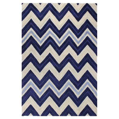 Shelton Hand-Tufted Ivory/Navy Area Rug Rug Size: 7'6