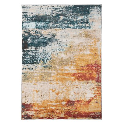 Middlesex Teal/Yellow Area Rug Rug Size: 56 x 76