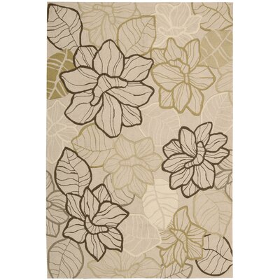 Mindy Hand-Hooked Beige Area Rug Rug Size: 36 x 56