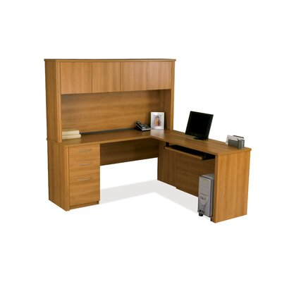 Witchel L-Shape Desk Office Suite with Hutch Color: Cappuccino Cherry