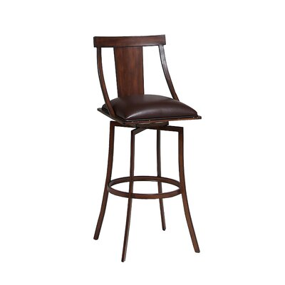 Antlia 31 Swivel Bar Stool Finish: Noyer, Upholstery: Ford Brown