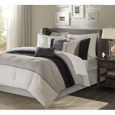 Nicolette 7 Piece Comforter Set Size: Queen, Color: Black