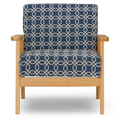 Nunam Retro Mid Century Fabric Arm Chair Finish: Navy Blue